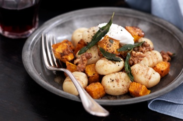 Once you've tried homemade gnocchi, you'll never go back. In this recipe, gnocchi is tossed with roasted pumpkin, goats cheese and walnuts.
