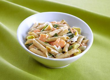 Penne + Roasted Salmon + Artichokes + Lemon + Basil = A delicious Catelli® Healthy Harvest® recipe!  All prepared in less than 10 minutes? Dinner is served! #recipe #catelli
