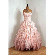 Robe de Soiree Krásná Sweetheart Ruffled Pink šifon večerní šaty 2016 vyráběny na zakázku Sladká 16 šaty s dlouhým Girls Party Róby (Čína (pevninská část))