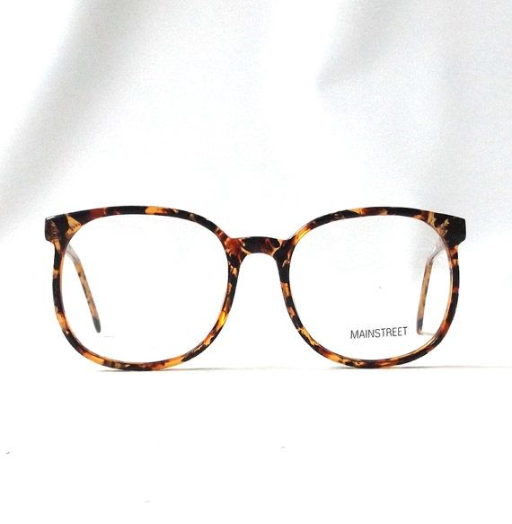 vintage 1980's NOS eyeglasses oversized round brown tortoise shell plastic frames clear lenses prescription mens womens modern eye glasses