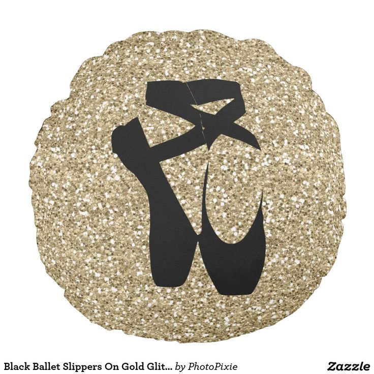 Black Ballet Slippers On Faux Gold Glitter Design Pillow