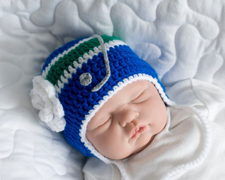 BABY GIRL HOCKEY Vancouver Canucks pacifier not included, Crochet Baby Hockey Girl, Baby Knit Hockey Hat, Hockey Baby Girl, Hockey Baby Gift by Grandmabilt on Etsy