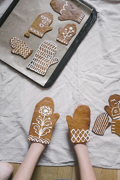 Fine Little Day: Iced Gingerbread Mittens - such a sweet idea and perfect for kids to decorate