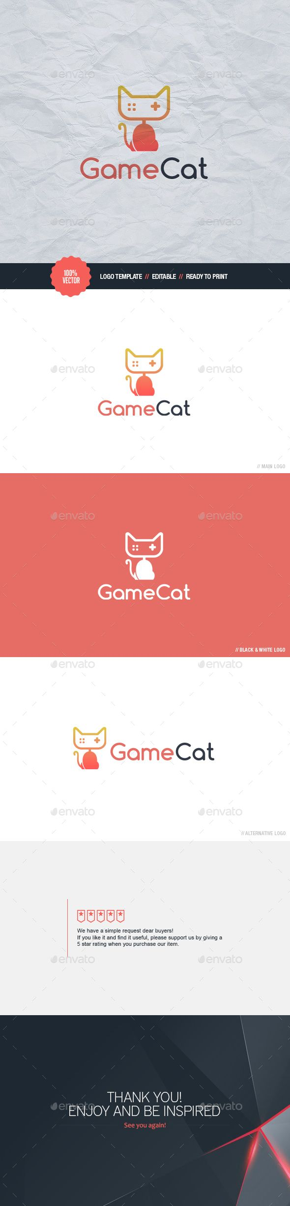 Game Cat Logo Template #design #logotype Download: http://graphicriver.net/item/game-cat-logo/13197292?ref=ksioks