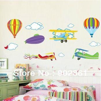 [FUNLIFE] Красочный бестселлеры Самолеты Aircafts и шары Sky стены украшены картинами Бумажные наклейки Отличительные знаки для детей комнат...