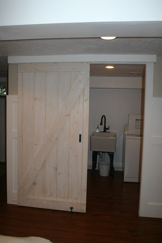 love this idea especially for a basement barn door