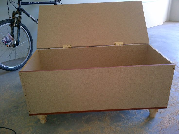3. And voila! There's the box completed. I screwed the legs from the inside to the bottom of the box, and gave the lid some hinges.