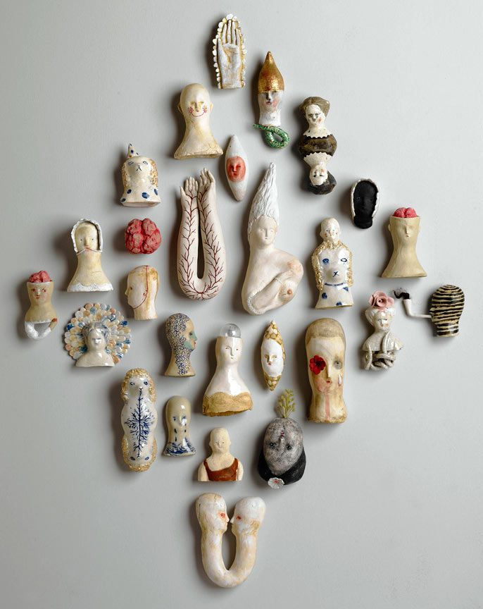 Heaven and Earth 2011 earthenware, porcelain, glazes, paints, gold leaf, found objects  Bonnie Marie Smith