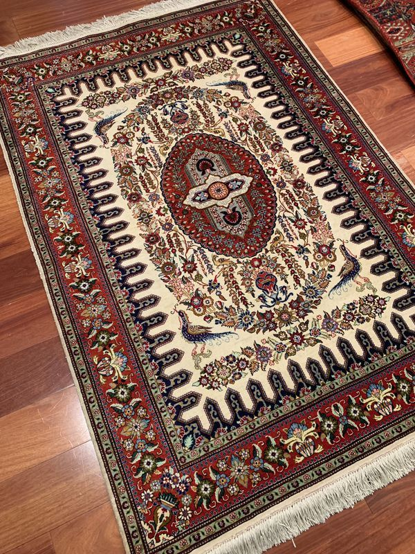 Persian Qum Mosavi Rug Silk For In