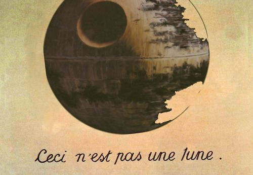 Ceci n'est pas une lune.Geek, Death Stars, Frames Prints, Moon, Rene Magritte, Stars Wars Art, Art History, Pictures Wall, Starwars
