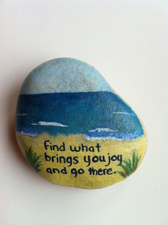 Hand Painted Rock w/ Beautiful Quote by StrongStones on Etsy, $15.00 or paint your own!