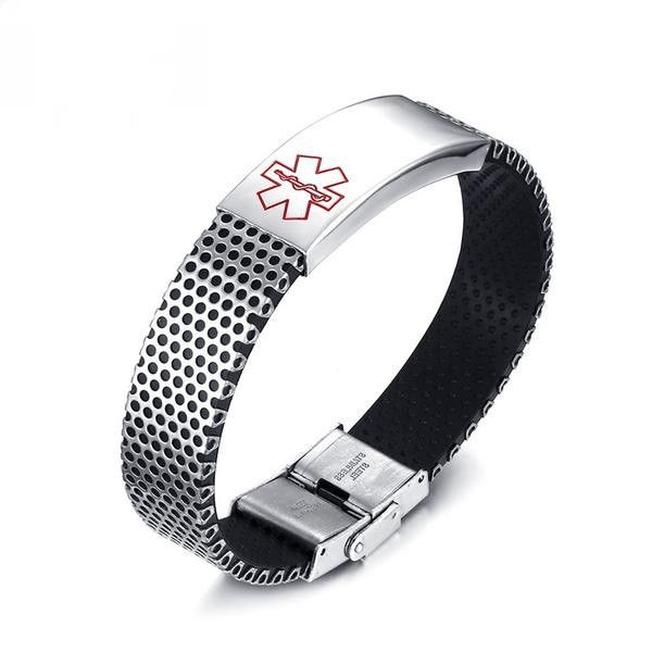 Custom Engraving Medical ID Stainless Steel with Black Silicone Bracelet [Red or Blue]
