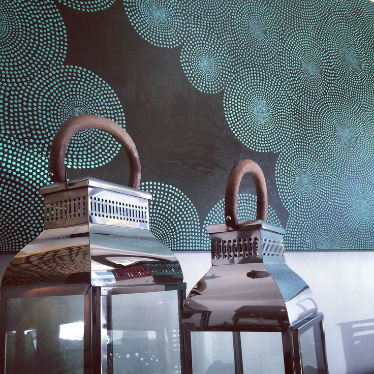 Lanterns and Dot painting... #art #original #aboriginal #inspired #indigenous #popular #abstract #green #hand #painted #glass #wood #silver #lantern #love #style #home #decor #house #interior #design #trend #blog #blogger www.charliemac.com.au