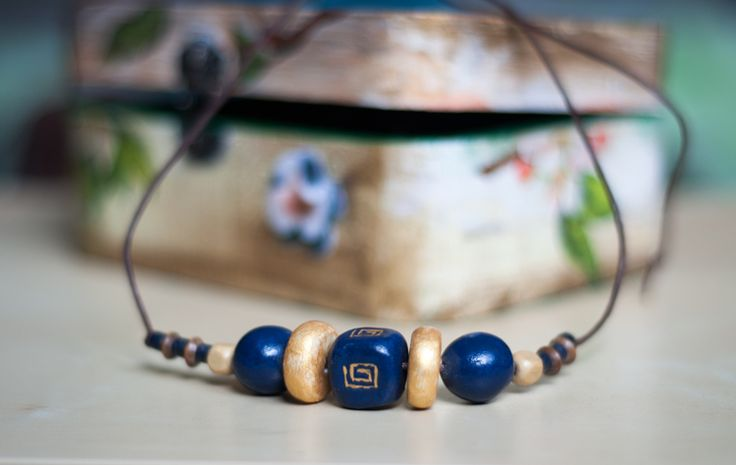 navy#gold hand painted beads margele lut