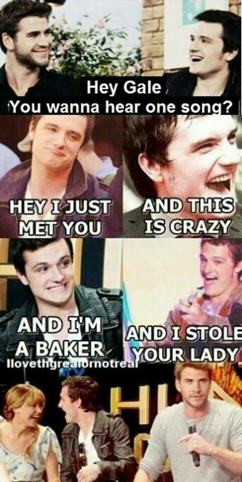 Oh hungar games humor Edit: And Jennifer and Josh are laughing while Liam is being serious… Poor Liam...