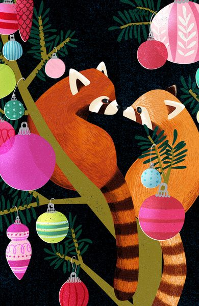 Red Pandas in Christmas Tree Art Print by Daughter Earth | Society6
