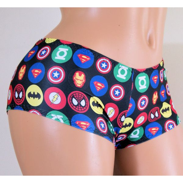 Superhero Comic Book Lycra Boy Booty Shorts Adult Xs Xsmall Mtcoffinz...  ($18) ❤ liked on Polyvore featuring intimates, panties, grey,…