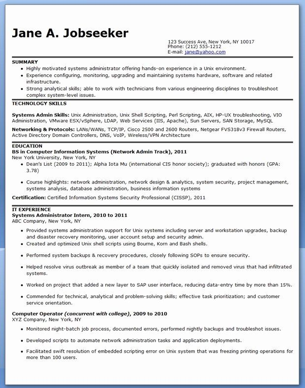 Entry Level System Administrator Resume Awesome Systems Administrator Resume Sample Entry Level In 2020 System Administrator Job Resume Samples Resume Examples