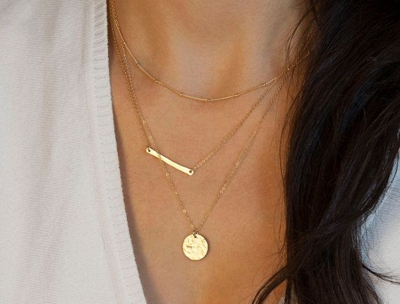 Gold Necklace Hamsa Tiny Hamsa Necklace Hand of by LayeredAndLong