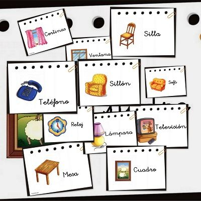 Recursos para el aula: Vocabulario básico Bits de inteligencia de objetos que encontramos habitualmente en una casa: El sofá, los cuadros, l...