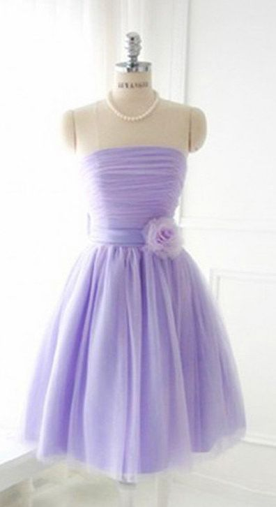 Elegant homecoming dress,Strapless short prom dresses,Tulle Prom Dresses,tulle Homecoming Dresses,lavender prom dress,lavender homecoming dress,short homecoming dresses