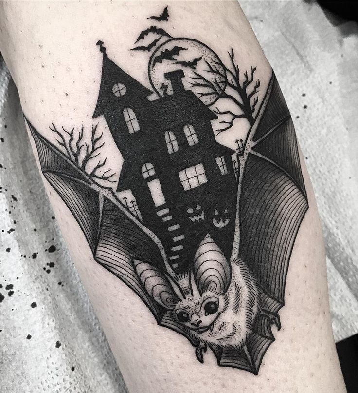 Black tattoo bat and haunted house by Sherlane white (@sherlybird)