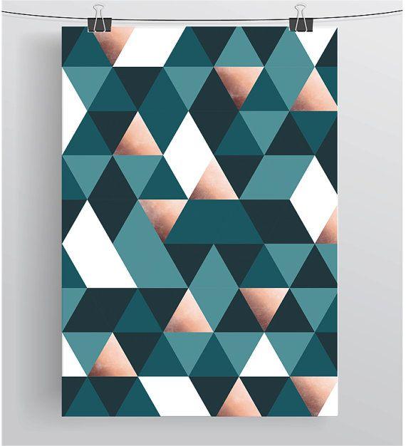 Teal Wall Art Triangles Print Geometric Art Scandinavian