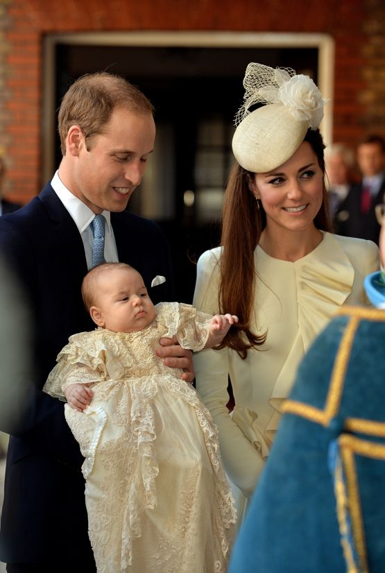 Prince George made his first public appearance in three months on October 23, as he arrived with his parents, Prince William and Catherine, Duchess of Cambridge, for his christening at St. James's Palace. The baby prince smiled as he was shown off to family members including his great-grandparents, Queen Elizabeth II and Prince Philip, before the royals entered the Chapel Royal.