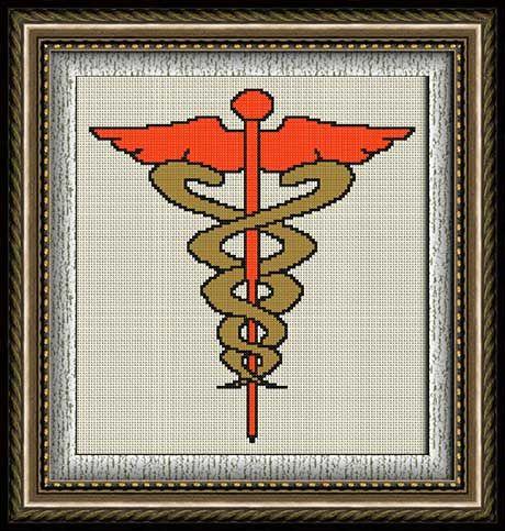 Caduceo (Símbolo Médico) en punto de cruz y petit point.