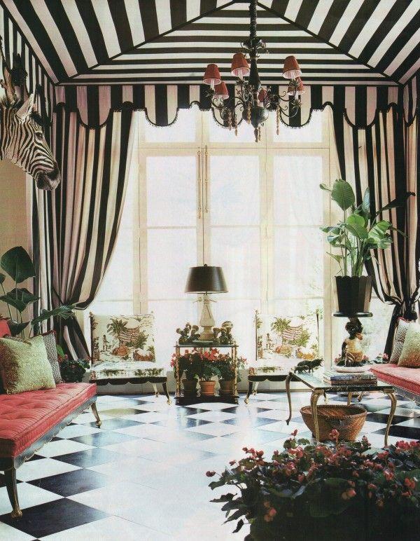 Richard Keith Langham Channeled Dorothy Draper For The Design Of This Vogue Regency Garden Room