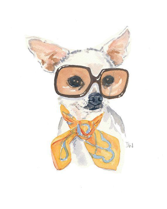 Chihuahua Print - Dog Watercolor Painting Print, Vintage Sunglasses, 5x7 Illustration