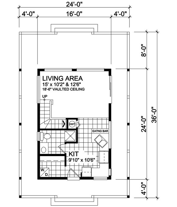 Exceptional Contemporary Style House Plans   582 Square Foot Home , 2 Story, 1 Bedroom  And 1 Bath, 0 Garage Stalls By Monster House Plans   Plan