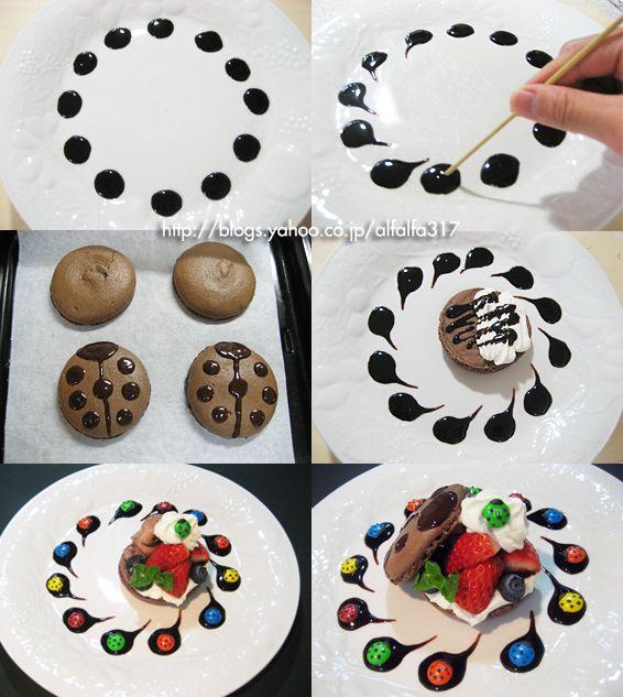 てんとう虫マカロンのデザートプレート〈M&MSのデコレーション〉|ちょっとの工夫でかわいいケーキ