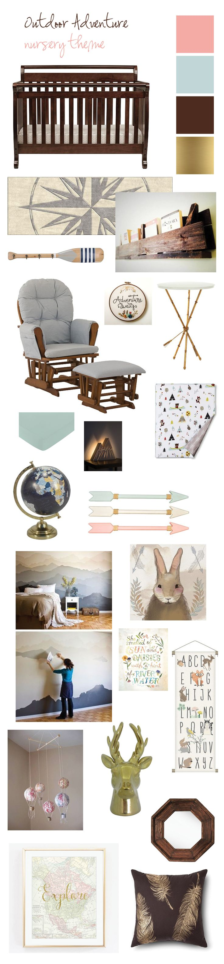 Baby girl nursery idea outdoor adventure nursery theme... mountains, woodland creatures, boating, canoeing, camping, feathers, blue, gold and ping.