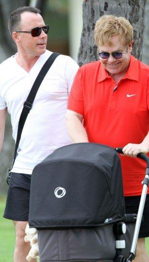 Elton John and baby