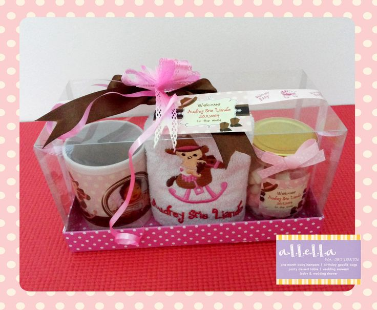 Happy One Month old, Audrey Srie Liando  25 pcs of: - Personalized Marshmallow Jar - Name Embroidery Towel 30 cm x 70 cm - Personalized Mug  Packaging: Mica box  a.L.L.e.L.L.a  SMS/WA: 0817.4858.706 FB: allella hampers IG: allella.hampers Email: allella.hampers@yahoo.com