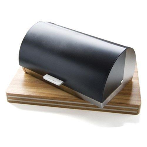 Salt & Pepper Soho Stainless Steel Bread Bin with Black Lid