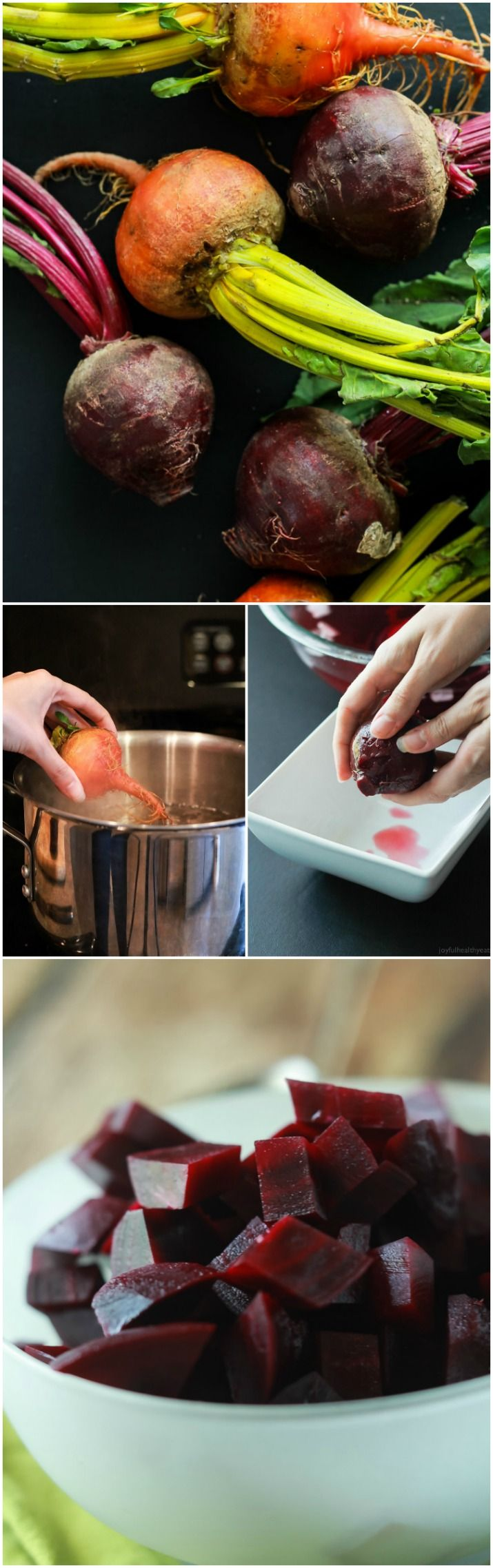 Easy step by step tutorial on how to cook beets. Great for smoothies, side dishes, salads, or just snacking. Full of nutrients and antioxidants! | joyfulhealthyeats.com #healthyeating