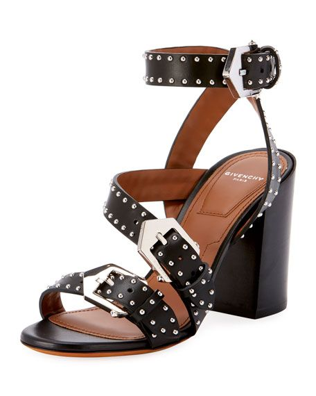 9b8b33d57909 Givenchy Studded Block-Heel Sandals in 2019