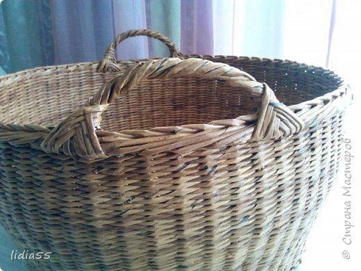 Поделка изделие Плетение большие корзины для маленьких моделей Трубочки бумажные фото 2