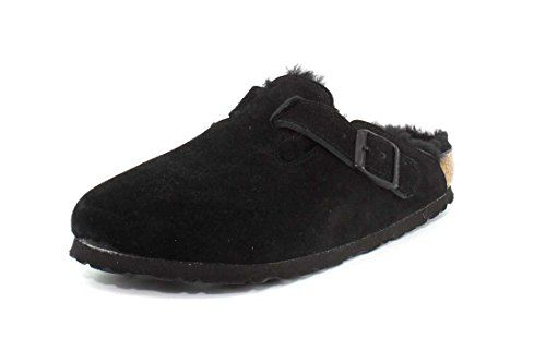 df9ec5f2a Birkenstock Boston Black with Black Shearling Suede Clogs 38 N (US Women's  7-7.5)
