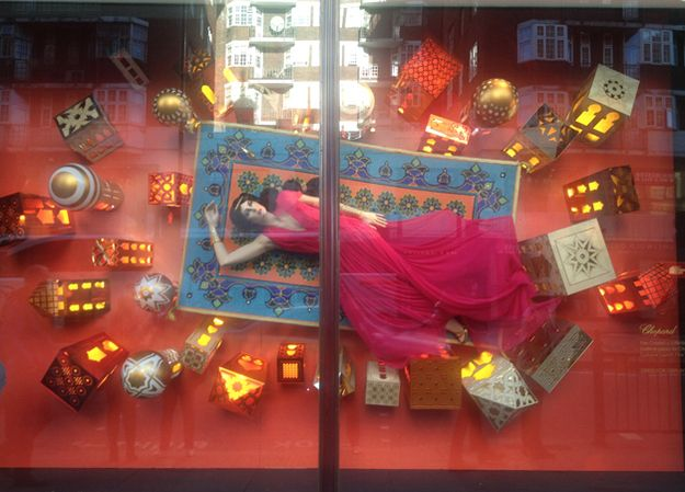 Here's Jasmine in the Harrod's window, dress by Escada. | Designer Disney Princess Dresses To Be Auctioned Off For Charity