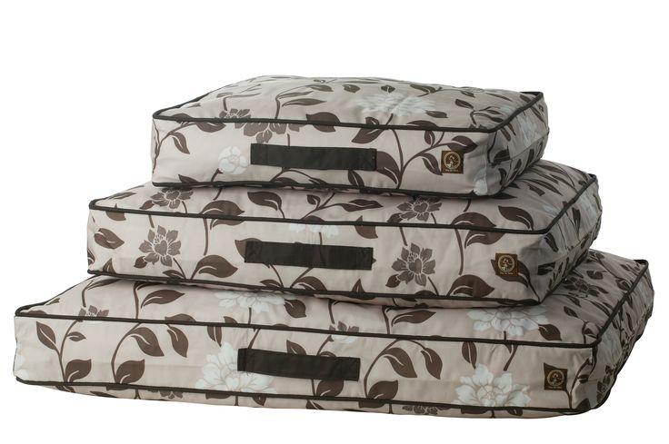 Indoor/Outdoor Classic Pillow Beds-Brown Flora Water Repellent, UV-resistant & Machine Washable