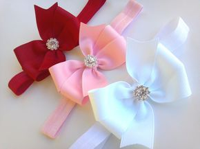 Red pink white headbands,bow headband set,baby girl headband,Valentines headband,Infant headband,rhinestone bow,red bow, pink bow, white bow