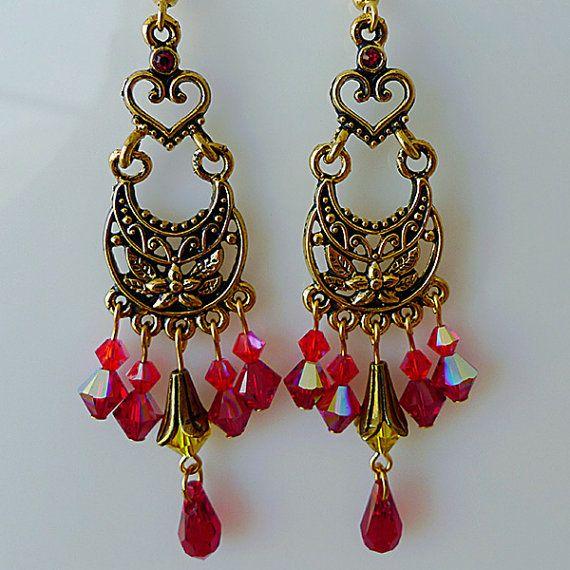 36 best swarovski red pink fuchsia burgundy images on pinterest red earrings swarovski red crystal chandelier by cristalchic aloadofball Choice Image