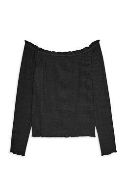 Black Frill Bardot Top