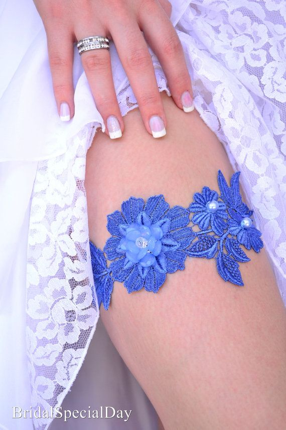 Blue Wedding Garter Wedding Garter Set by BridalSpecialDay on Etsy