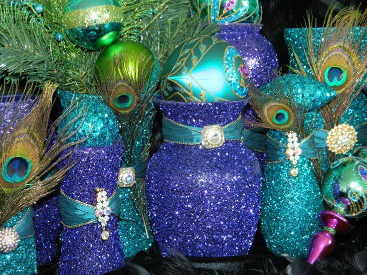 Paint Bottles For Centerpiece, Not Peacock But Like The Idea. Peacock  Christmas DecorationsPeacock Wedding ...
