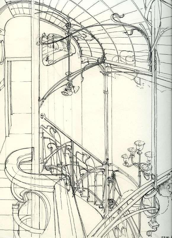 Dessin de Victor Horta                                                                                                                                                                                 Plus