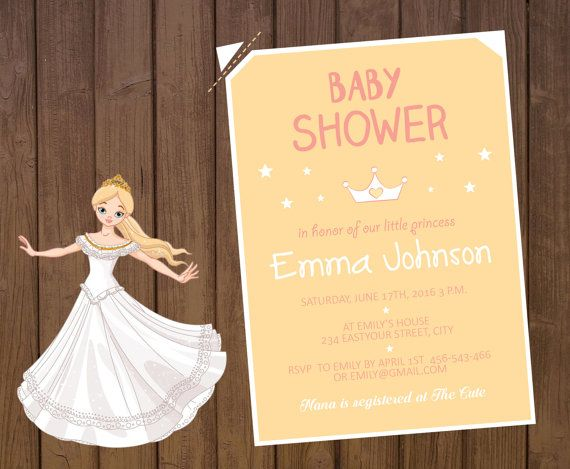 Princess Pink Baby Shower Invitation by TheCutePaperStudio on Etsy